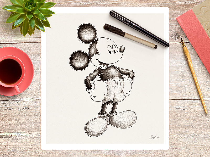 Mickey Mouse ink pencil disney design character black animal scene draw illustration drawing dot