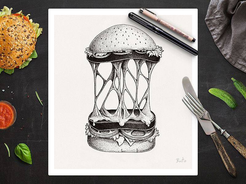 Cheese burger design cheese bread poster ink pencil black draw illustration drawing dot food