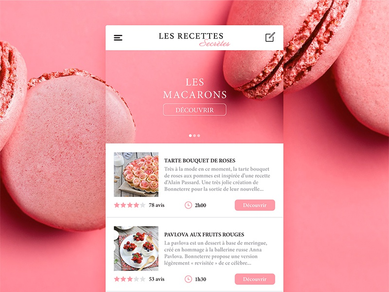 Les recettes secrètes recipe mobile macaron pink food ios interface app ui ux