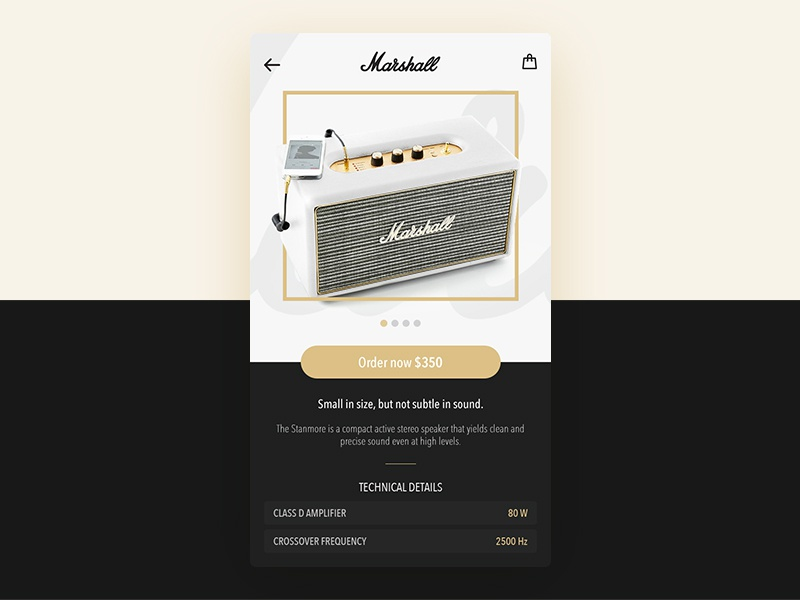 Marshall design sound music amps mobile ios interface app ui ux