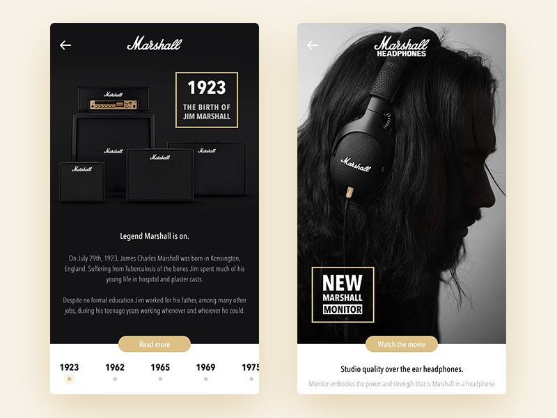 Marshall Rebound design sound music amps mobile ios interface app ui ux