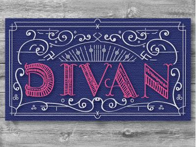 Divan business card cafe logo identity
