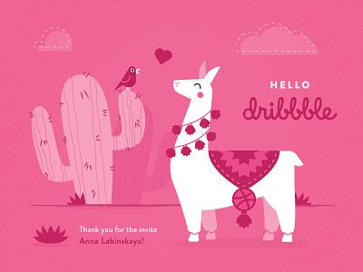 Hello Dribbblers! thank you pink dribbble invite dribbble hello llama illustration