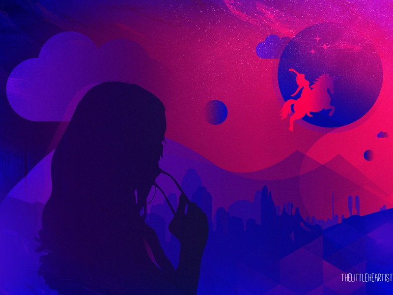 It's all about last night dream! gradients innovation imagination digital 2d siloutte aesthetic artistic graphic artist visual art digitalart digit dribbble dribbleshot dream her sheshank digital art story illustration unicorn