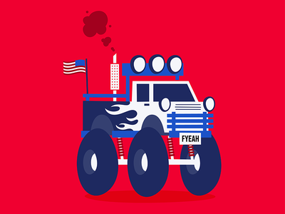 FUCK YEAH fuck yeah monster truck cliché usa america wheels vehicle flag illustrator illustration