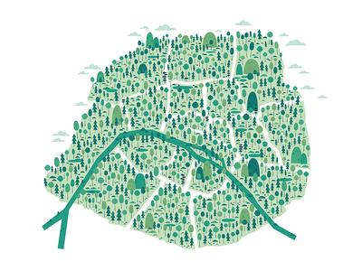 🌲 Paris 🌲 map natural ecologic green france wildlife nature tree forest paris illustrator illustration