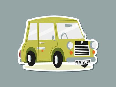 """Mr. Bean's Austin Mini 1000"" die-cut sticker! austin mini mr bean sticker mule austin mini england uk rebound sticker illustration"