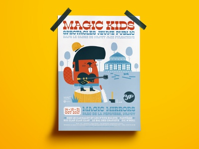 Magic Kids 2017 poster children kids magic jazz blues guitar rockabilly rocknroll rock n roll beaver illustration