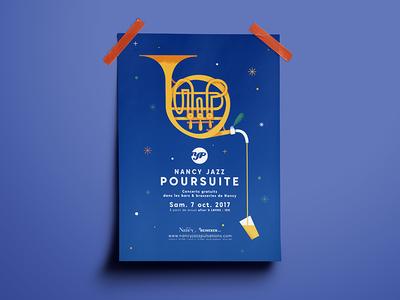 Nancy Jazz Poursuite 2017 heineken stars magic alcohol music beer french horn horn blue jazz poster illustration