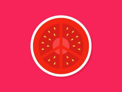 Peace, Love, Tomato. sticker mule pomodoro hippie love peace tomato playoff rebound sticker illustration