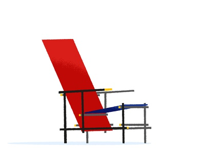 Red and Blue Chair de stijl furniture design architecture rietveld gerrit blue red chair illustrator illustration