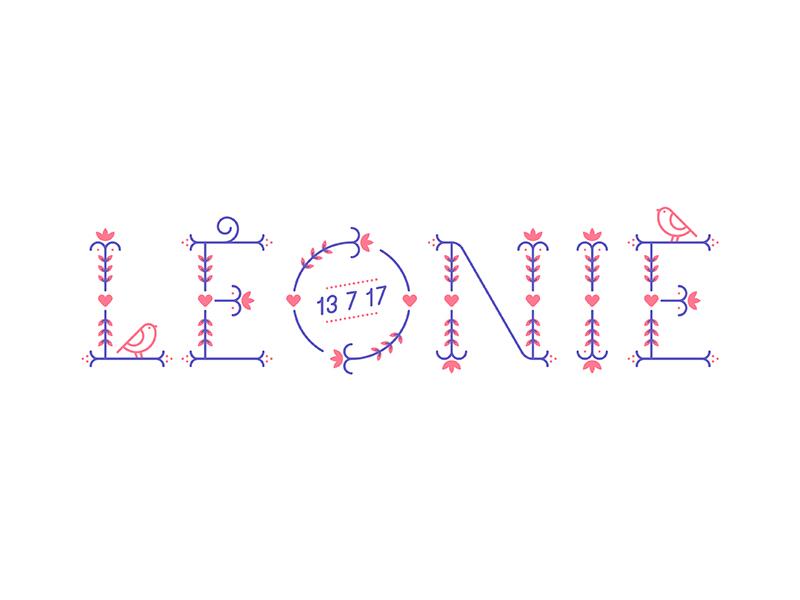 Léonie icon illustration monoline typeface typography baby sparrow bird flourish floral birth announcement