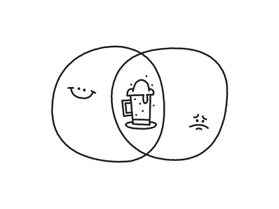 Alcohol: when any excuse is good. doodle alcoholism excuse sadness happiness sad happy emotions alcohol beer diagram venn