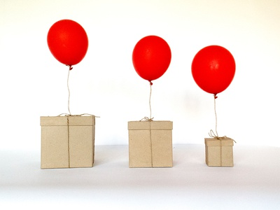 Care packages: Part II landing page care package still life color boxes balloon photo