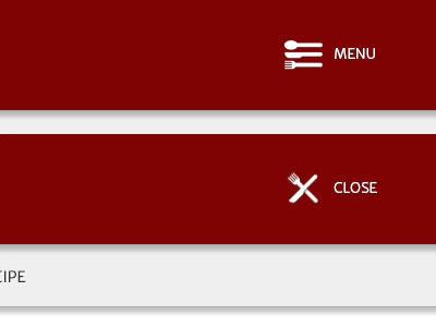Menuidea menu hamburger icon nav icon open close white red website accidental design