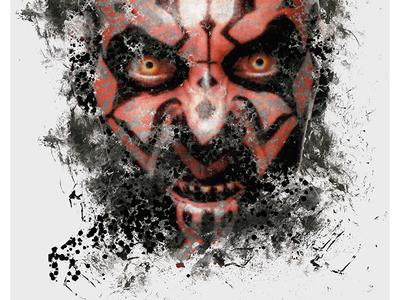 Maul Grunge black red poster silhouette grunge star wars