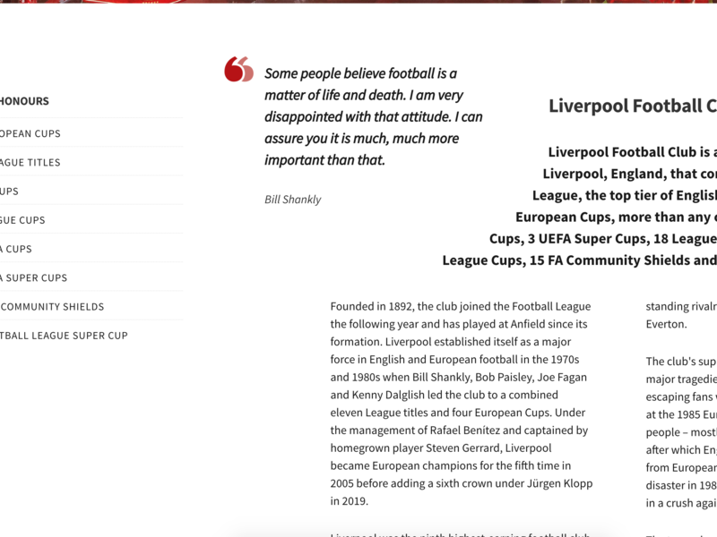 Liverpool FC shapes css blockquote clean liverpool white red