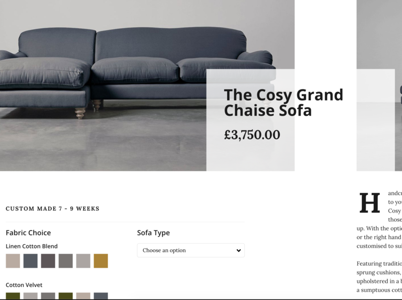 Furniture Product Page black white clean minimal css css grid ecommerce