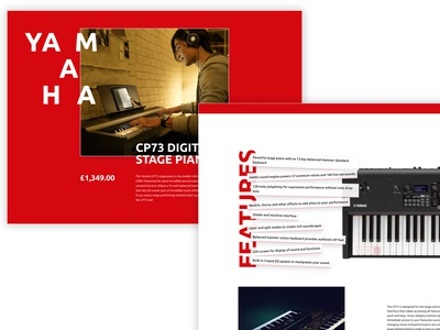 Concept eCommerce Page typography yamaha magento ecommerce css grid white red