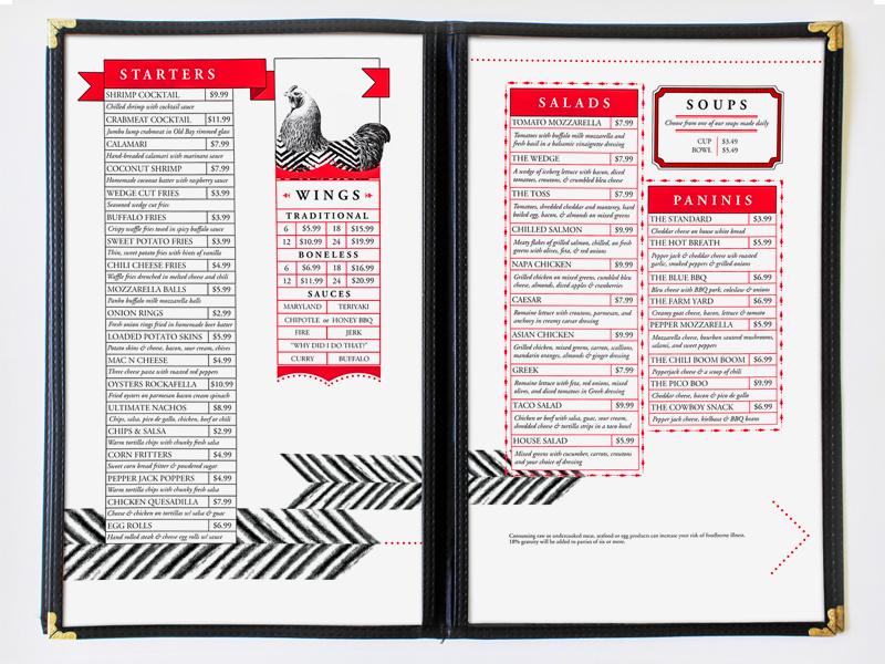 Rockafellas Menu burgers food restaurant design menu