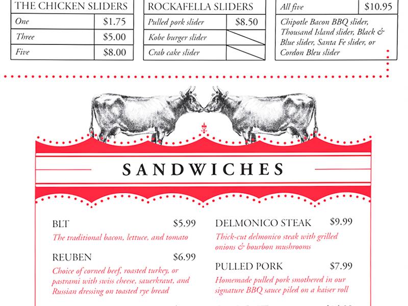 Menu Detail sandwiches burgers illustration vintage menu menu design