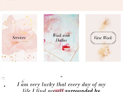 Dallas Shaw Home Buttons feminine squarespace illustration typography web design website