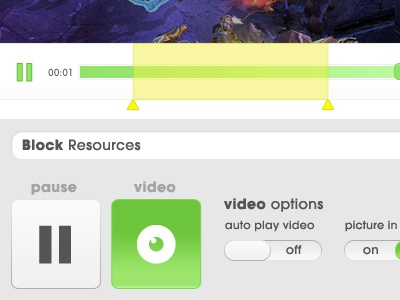 Video UI video player ui selectable switches