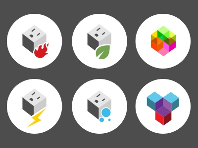 Cube iconography system icons graphic design power cable