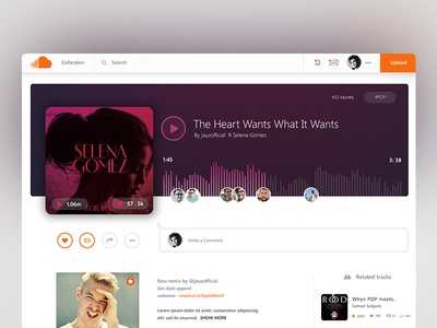 Soundcloud Song Layout / UI Challenge — Week 07 website web wave ui soundcloud simple player dashboard . play clean app