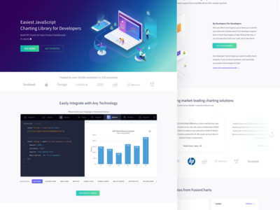 Fusioncharts - Landing Page design simple flat website web application ux ui