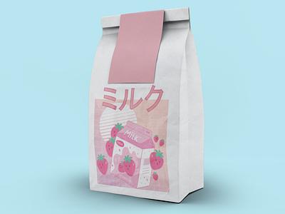 Strawberry Milk Pack illustration packs kawaii strawberry milk