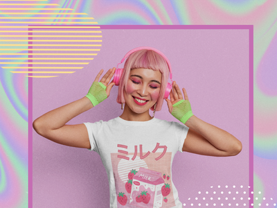 Happy Girl illustration kawaii strawberry milk