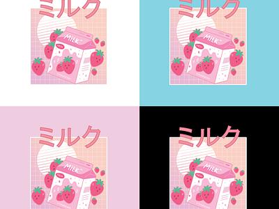 Strawberry Milk Branding straw branding strawberry milk illustration kawaii