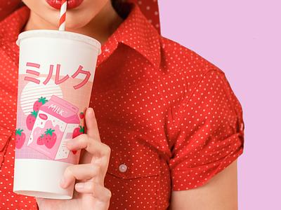 Girl and Strawberry Milk branding straw strawberry milk kawaii illustration