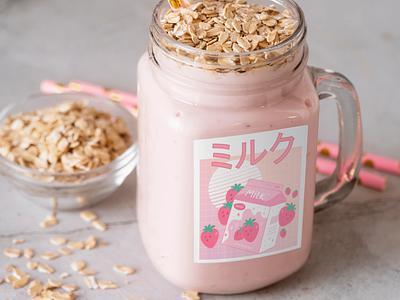 Strawberry Milk Smoothie packs branding straw strawberry milk kawaii illustration
