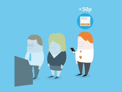 Lunch queue lunch queue app video pitch illustration characters