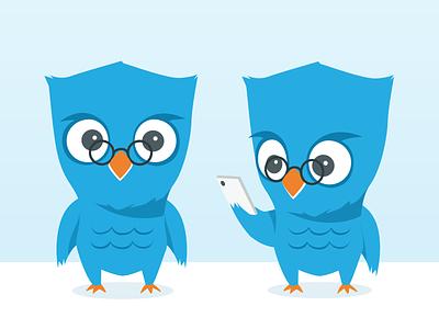 AskU Arron mascot character illustration asku app owl animal bird