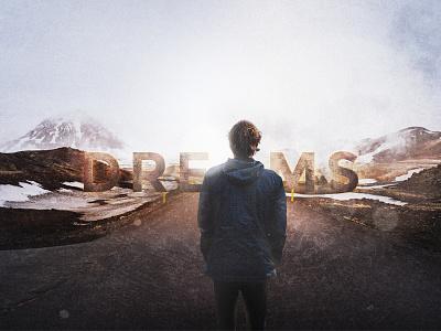 Dreams_digital 2d work digital art dreams mountains typography 2d