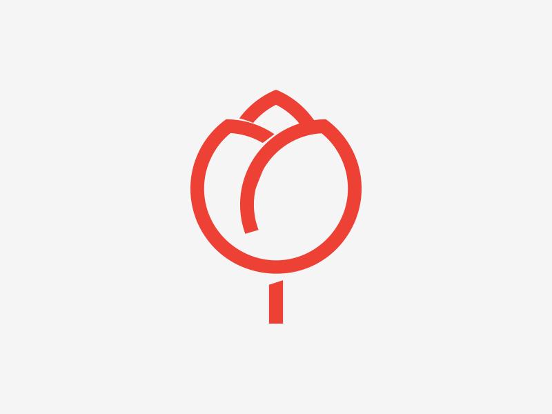 tulip  minimal red flower monogram icon emblem logo tulip