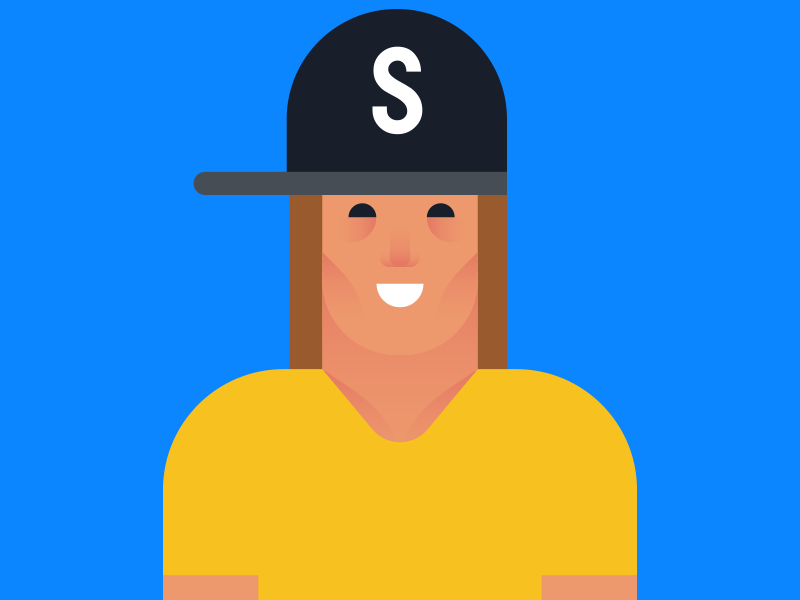 Sporty  blond hair long blue yellow cap illustration character