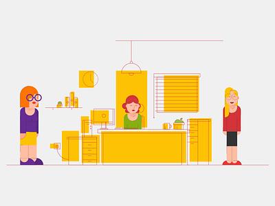 Office art line women girls nerds office illustrations outline
