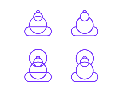 Buddha options minimal simplified identity branding illustrations buddha meditation mark icon emblem logo monogram