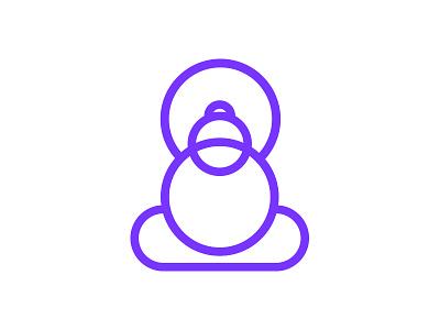 Buddha Monogram minimal simplified identity branding illustrations buddha meditation mark icon emblem logo monogram
