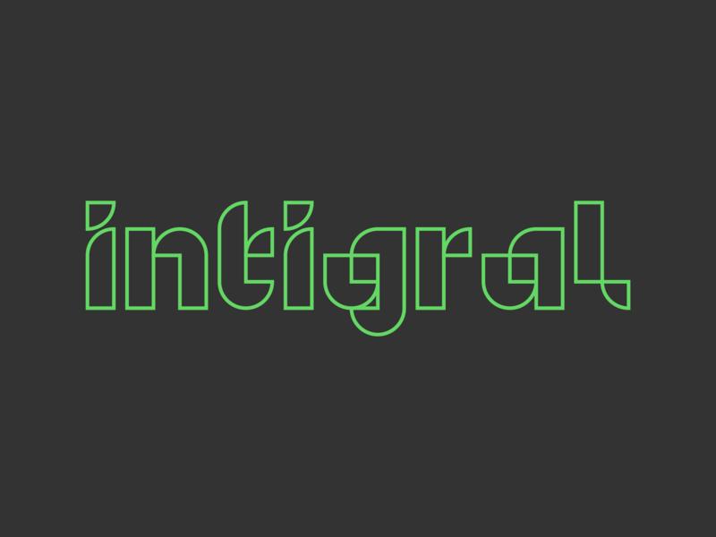 Integral 2 logotype digital outline identity minimal icon design branding typography logo