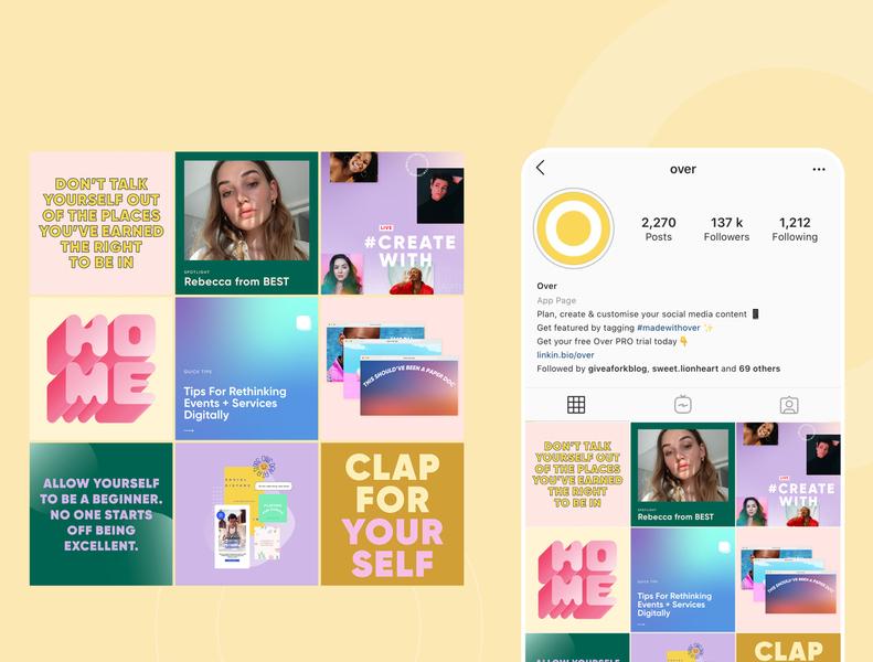 Over's Instagram Feed branding color brand story art direction instagram post social media design social media instagram graphic design corporate identity brand identity brand design brand