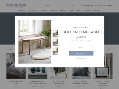 eCommerce product quickview magento baskerville gill sans scandi whitespace preview quickview ecommerce
