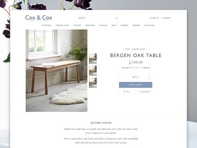 Cox & Cox Product page blue gill sans furniture fashion magento ecommerce minimal clean