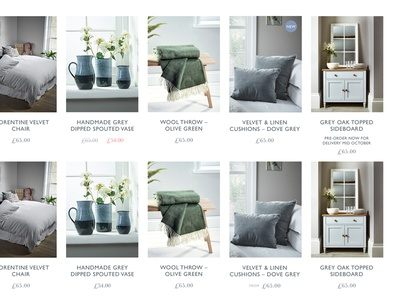 Cox & Cox Product listing typography premium magento baskerville gill sans scandi whitespace lifestyle furniture homeware ecommerce