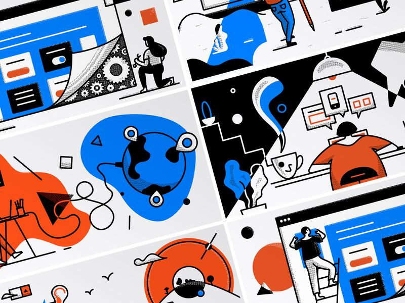 Illustrations for Medium auth0 shapes ui ux geometric design world headings medium vector color character draw graphic design pixel illustration