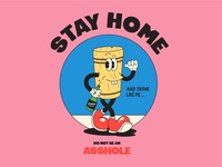 Stay Home drink cool cool colors fun graphic oldstyle cartoon wine cork vector stayhome quarantine oldschool character pixel color illustration design